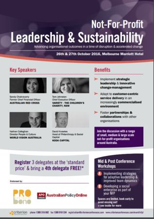 Not-For-Profit Leadership and Sustainability
