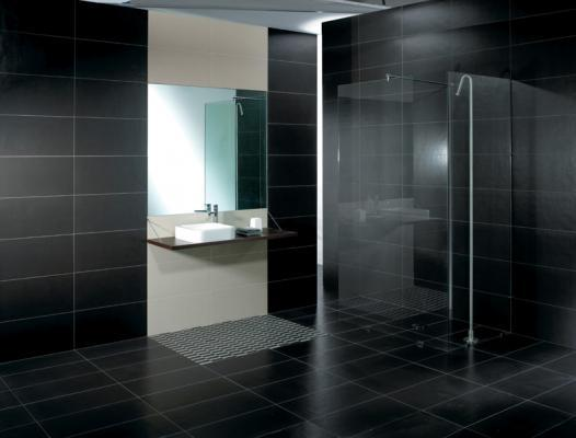 Graphite porcelain black floor and wall tiles by rms for Piastrelle bagno nere